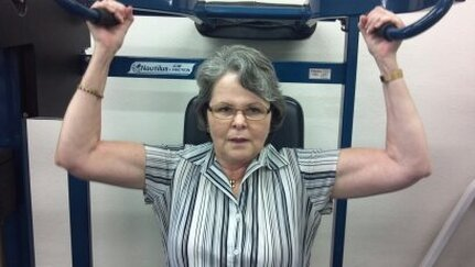 Jan, age 64, is using the Abstract Bodyworks program to increase muscle mass. She is able to work out in her street clothes.